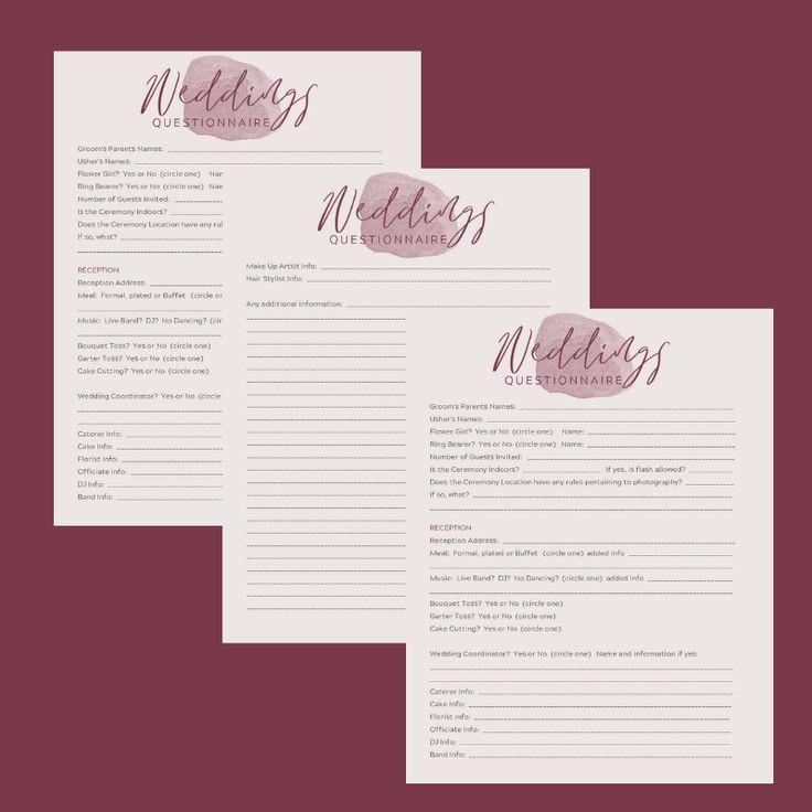 Wedding Planner Questionnaire Template Canva Wedding Questionnaire Template Wedding Planners