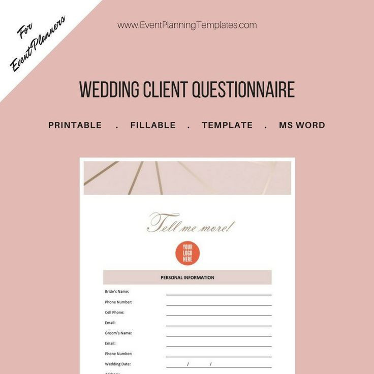 Wedding Planner Questionnaire Template Wedding Client Bride and Groom Questionnaire for event and
