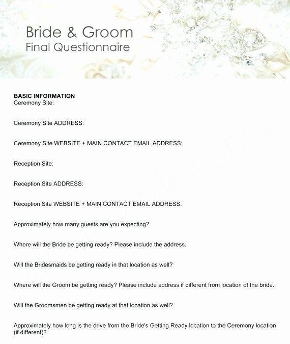 Wedding Planner Questionnaire Template Wedding Planner Questionnaire Template New Wedding Planner