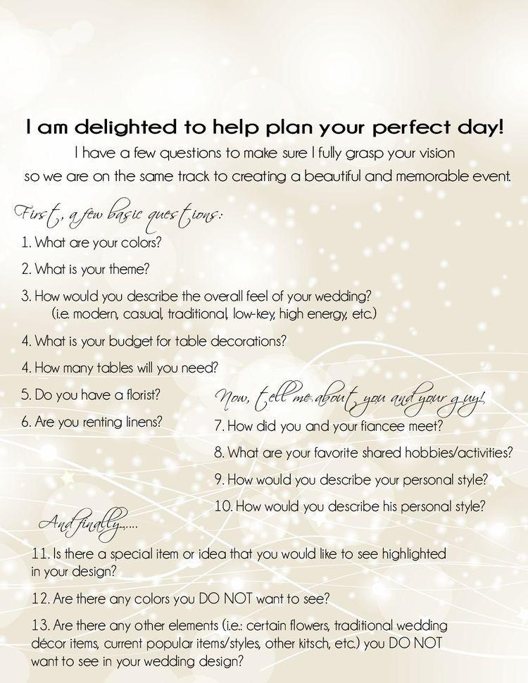 Wedding Planner Questionnaire Template Wedding Planning event Planning Questionnaire Consultation