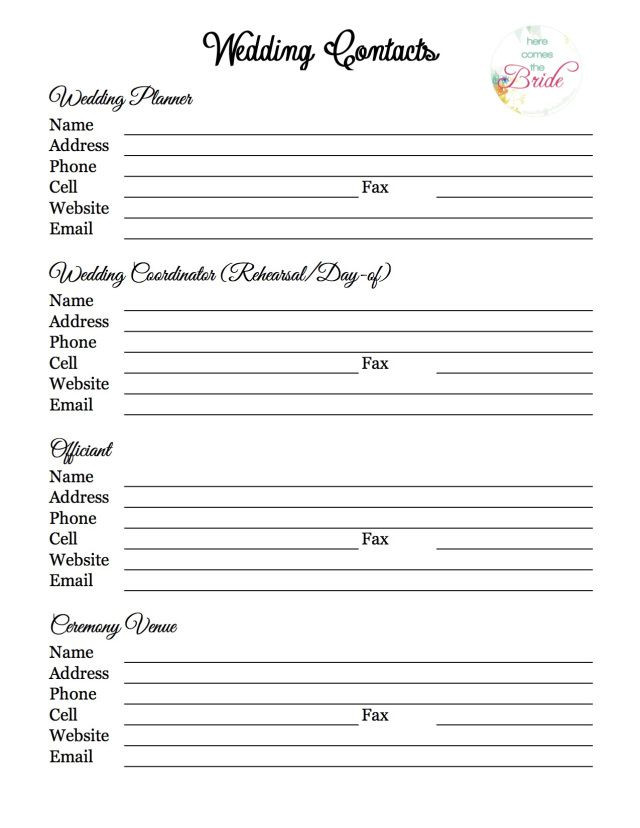 Wedding Planner Template Free Wedding Planning Vendor Contact List
