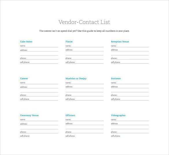 Wedding Planner Template Word Contact List Template 14 Download Free Documents In Pdf