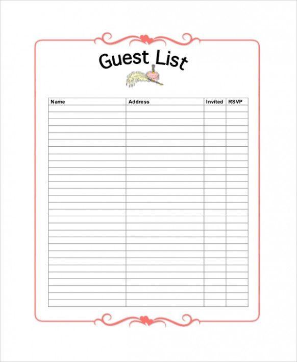 Wedding Planner Template Word Sample Wedding Guest List 7 Documents In Pdf Word Excel