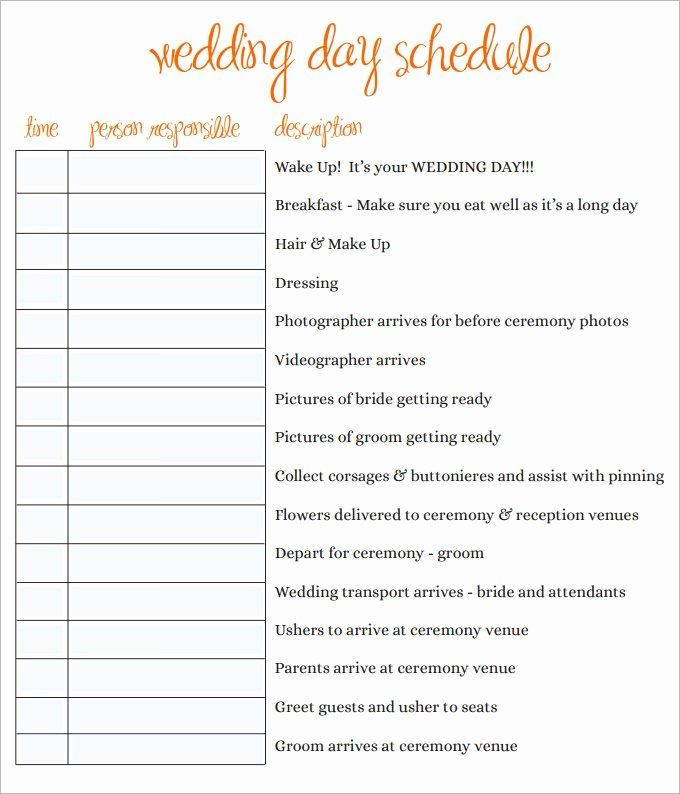 Wedding Planner Template Word Wedding Day Timeline Template Free Luxury Wedding Schedule
