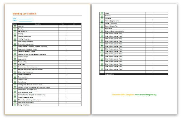 Wedding Planner Template Word Wedding Planning Checklist Save Word Templates