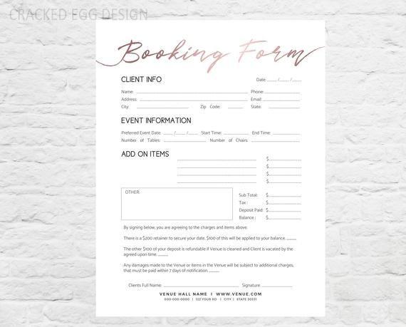 Wedding Planner Template Word Wedding Venue Booking form Professional form Shop