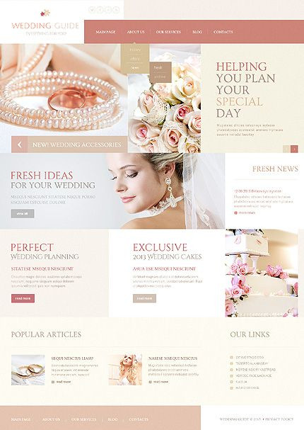 Wedding Planner Website Template Wedding Joomla Template