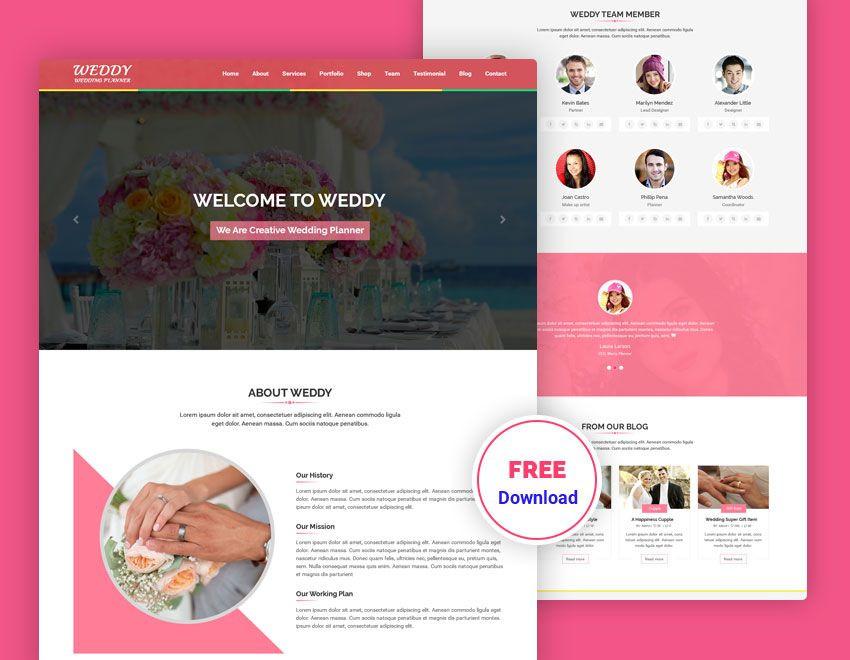 Wedding Planner Website Template Wedding Planner Free Psd Template In 2020
