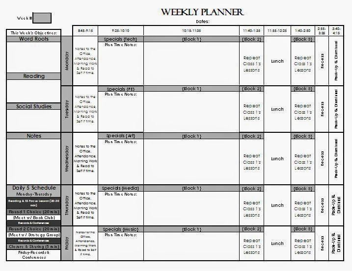 Week Long Lesson Plan Template the Real Teachr Lesson Planning Pages