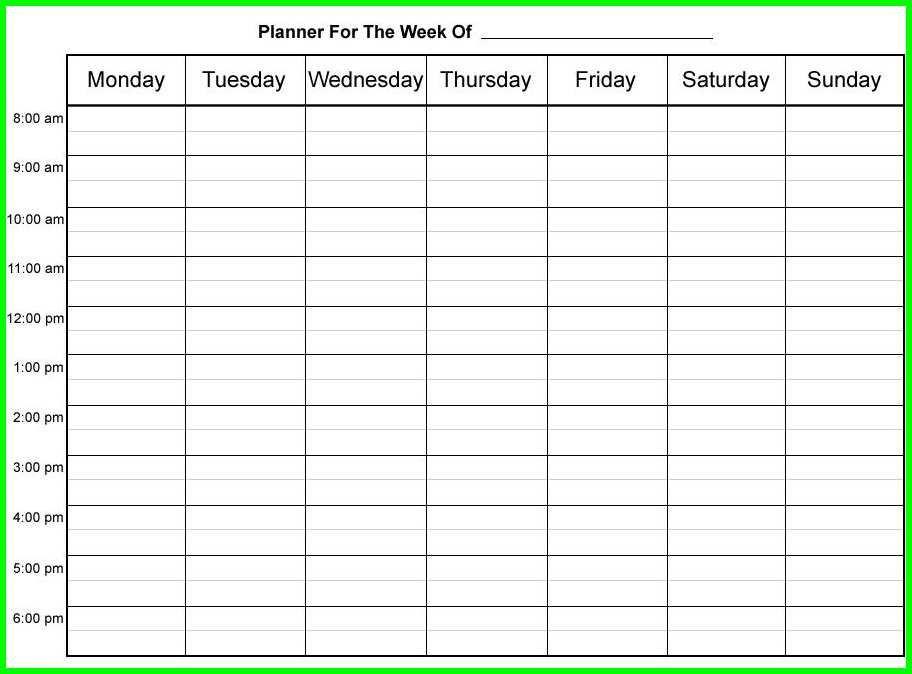 Week Planner Template Word 9 Hourly Weekly Schedule Printable