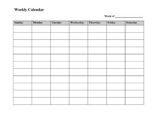 Week Planner Template Word Free Printable Weekly Calendar Template Microsoft Word