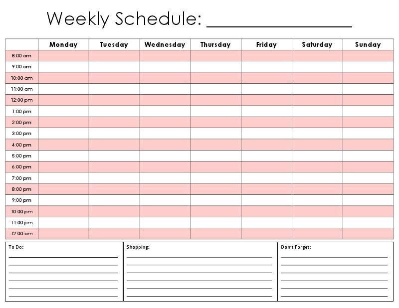 Weekly Hourly Planner Template Daily Hour Calendar Template