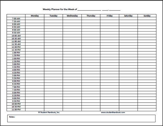 Weekly Hourly Planner Template Free Printable Weekly Hourly Daily Planner