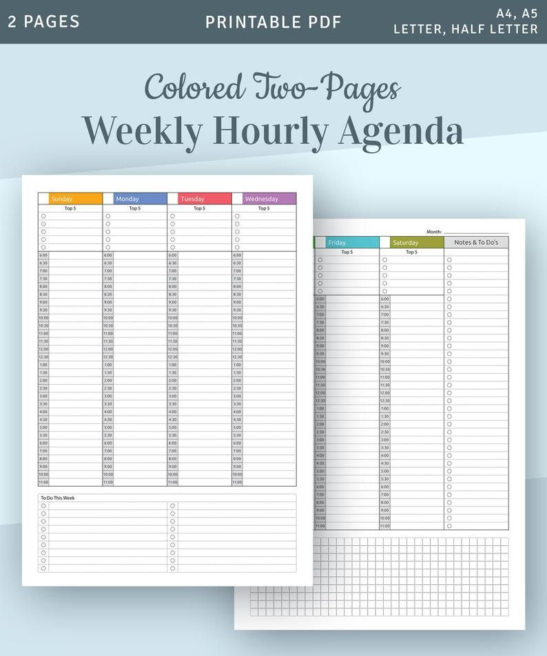Weekly Hourly Planner Template Pin On Amzone Free T Card