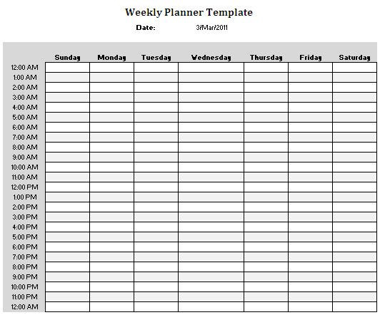 Weekly Hourly Planner Template Planner Templates