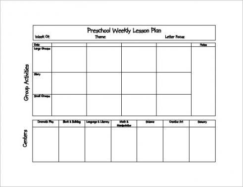 Weekly Lesson Plan Template Doc Image Result for Preschool Lesson Plan format