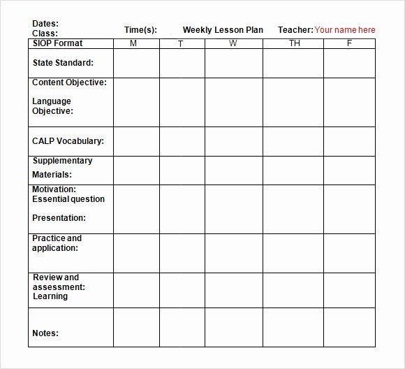 Weekly Lesson Plan Template Doc Weekly Lesson Plan Template Pdf New Lesson Plan Template Doc