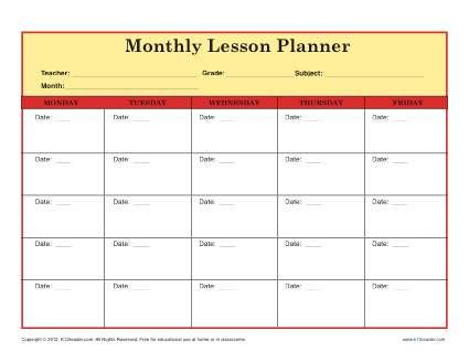 Weekly Lesson Plan Template Elementary Elementary Lesson Plan Template for Teachers Monthly