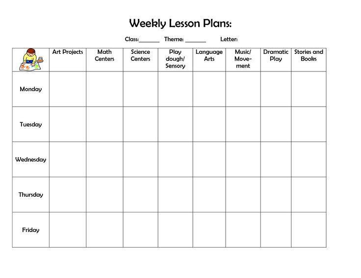 Weekly Lesson Plan Template Preschool Pin On Preschool