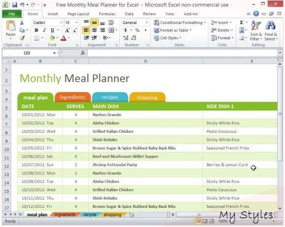 Weekly Meal Plan Template Excel Aug 23 2014 the Free Monthly Meal Planner for Excel is A