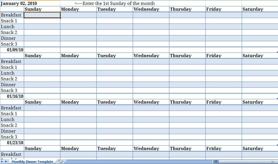 Weekly Meal Plan Template Excel Monthly Meal Planner