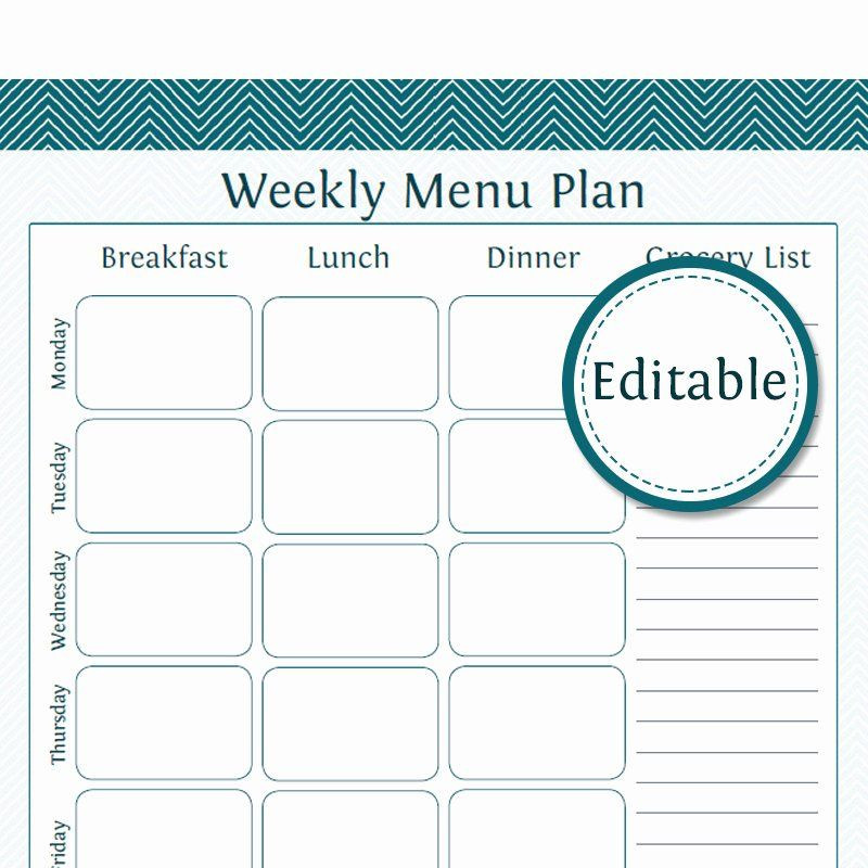 Weekly Meal Plan Template Meal Plan Template Pdf Unique Weekly Menu Planner with