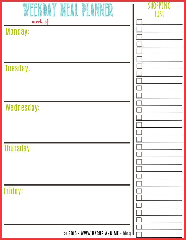 Weekly Meal Planner Template Excel Free Meal Planner