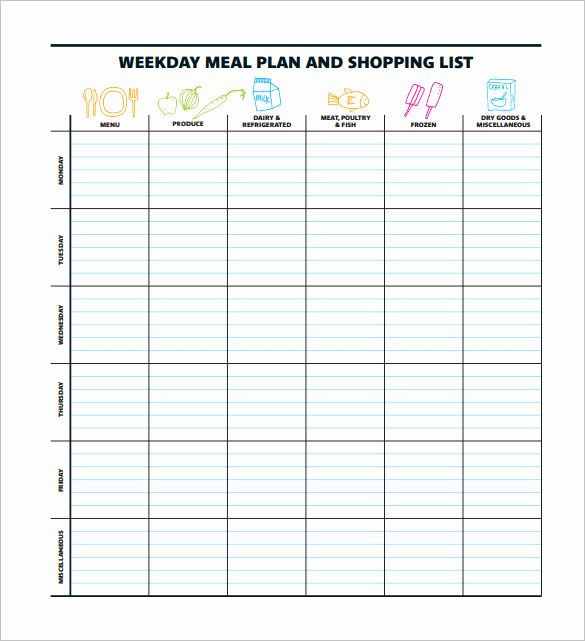 Weekly Meal Planner Template Excel Free Meal Planner Template Download Inspirational 15 Meal