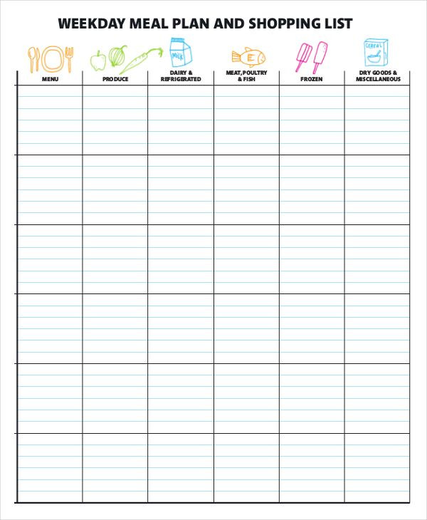 Weekly Meal Planner Template Excel Meal Plan Template Word In 2020