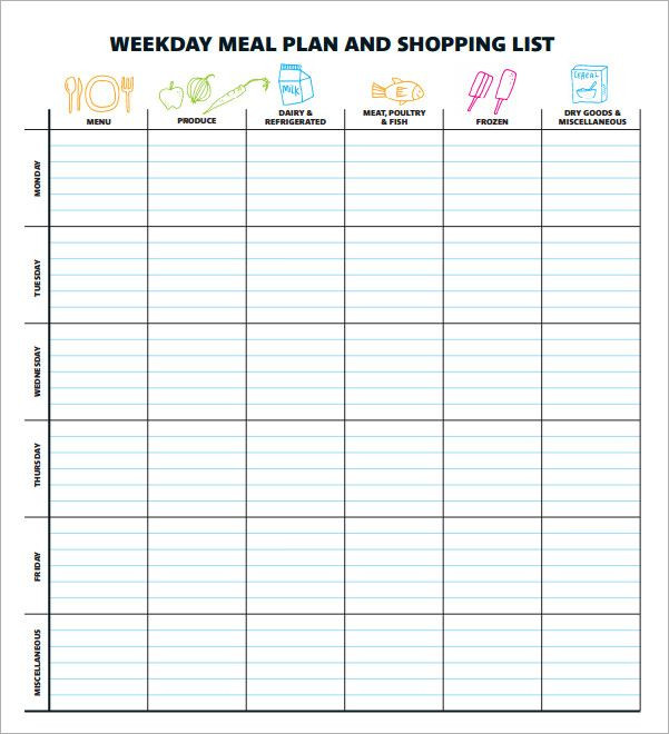Weekly Meal Planner Template Excel Pin by Linda Stewart On Recipes