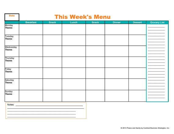 Weekly Meal Planner Template Printable Weekly Menu Meal Planner and Grocery List Printable Pdf