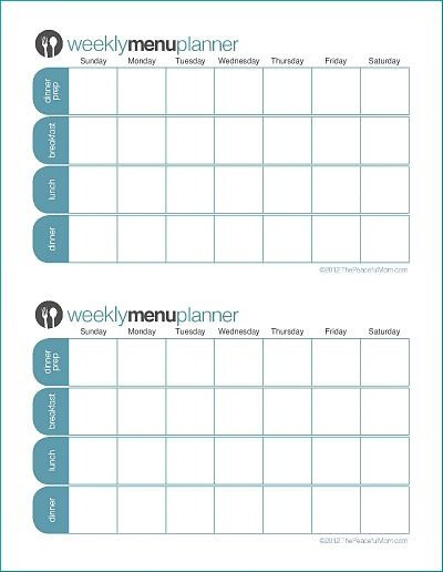 Weekly Menu Planner Template to Print Tpm Customizable Two Week Menu Planner the