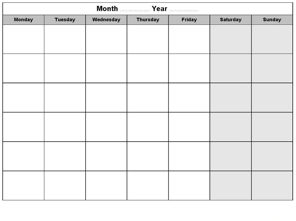 Weekly Monthly Planner Template Blank Weekly Calendars Printable