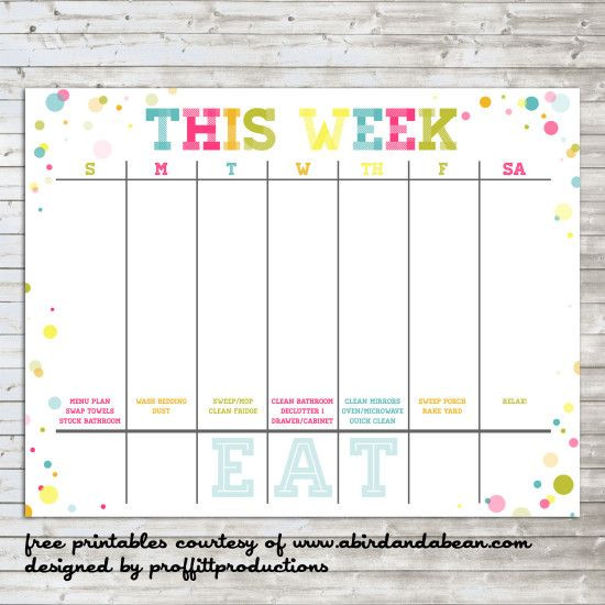 Weekly Monthly Planner Template Colorful Weekly Calendar Free Printable