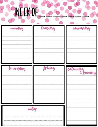 Weekly Monthly Planner Template Free Weekly Calendar Planner Printable Full and Half Size