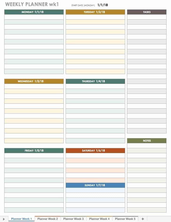 Weekly Monthly Planner Template Weekly Schedule Planner Template Luxury Free Excel Calendar