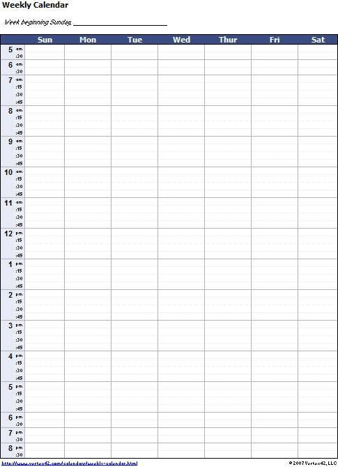 Weekly Planner Template Excel Blank Weekly Calendar Template with Times