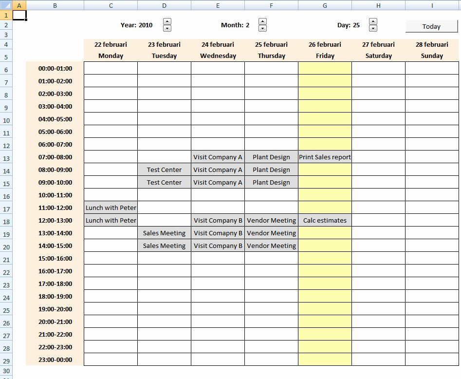 Weekly Planner Template Excel Weekly Schedule Templates Excel Beautiful Calendar with
