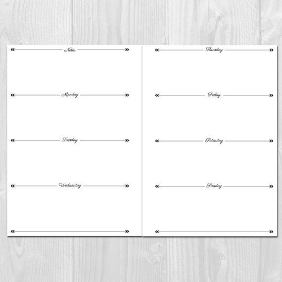 Weekly Planner Template Weekly Planner Printable Horizontal Layout A5 Size Undated
