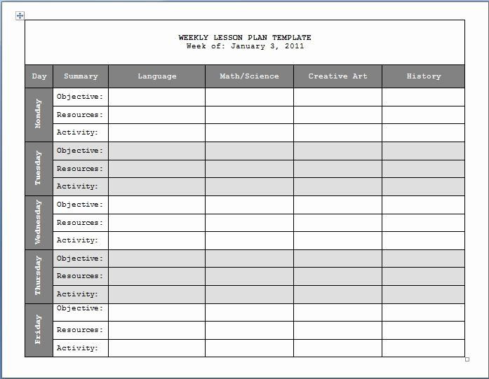Weekly Plans Template Weekly Lesson Plans Template In 2020