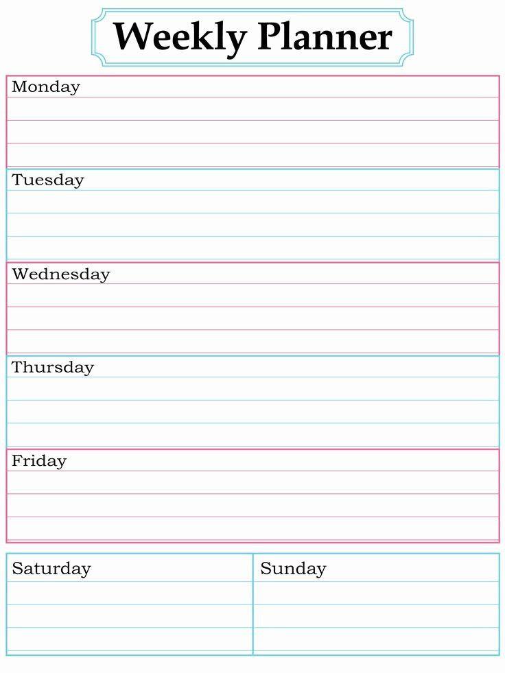Weekly School Planner Template Weekly School Planner Template Fresh Homework Planner