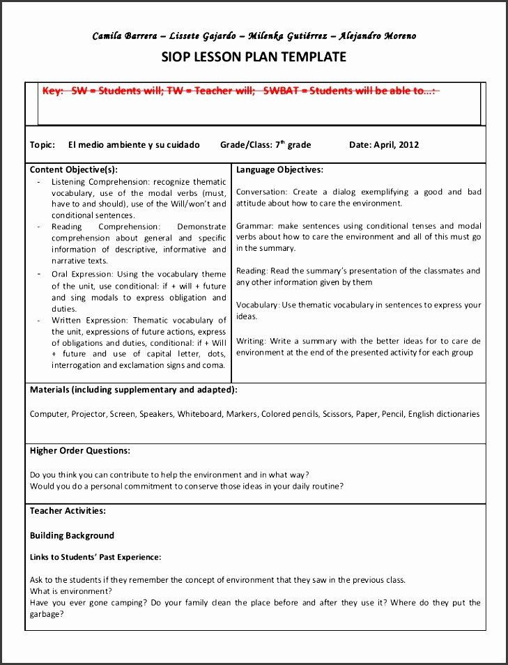 Wida Lesson Plan Template Siop Model Lesson Plan Template Lovely 9 Lesson Plan