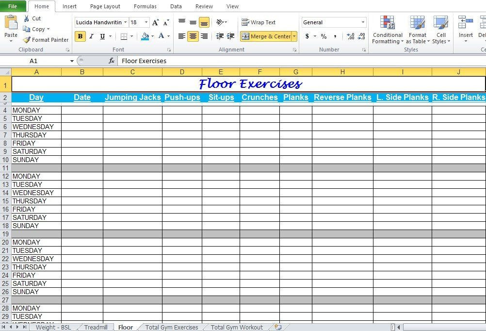 Workout Plan Template Excel Workout Plan Template Excel Gym Workout Plan Spreadsheet for