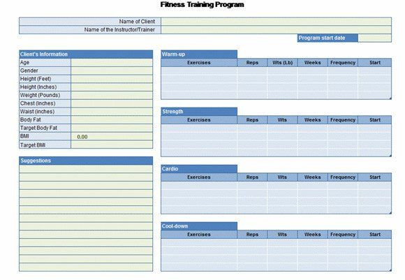 Workout Plan Template Excel Workout Plan Template Excel Workout Chart for Excel In 2020