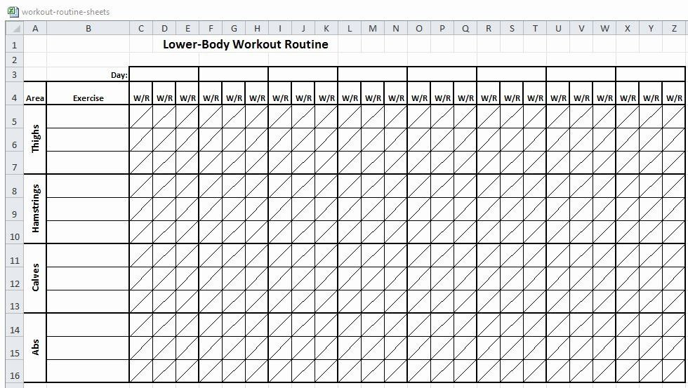 Workout Plan Template Excel Workout Schedule Template Excel Inspirational Excel Workout