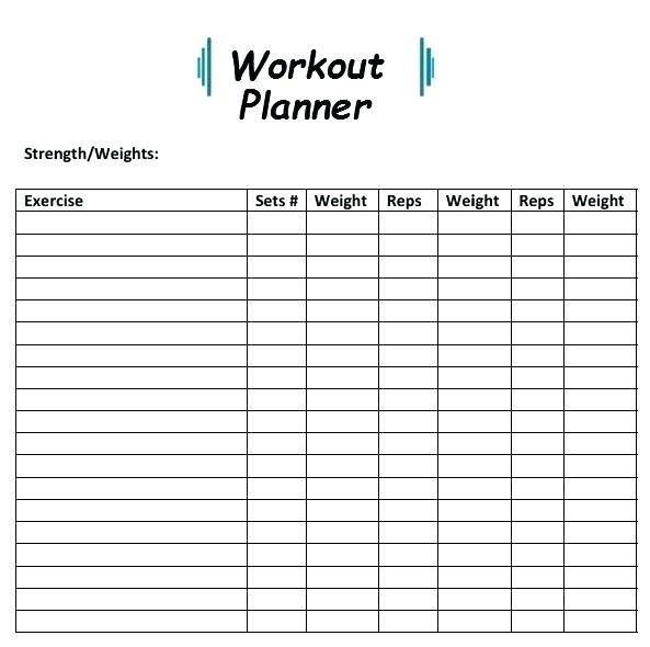 Workout Planner Template Amp Pinterest In Action In 2020