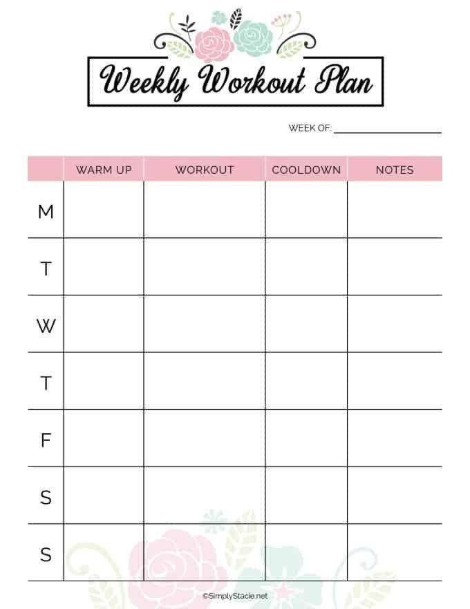 Workout Planner Template Weekly Workout Planner Template Lovely Weekly Fitness