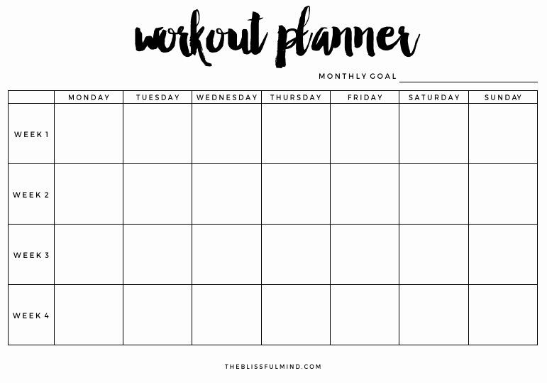 Workout Planner Template Work Out Schedule Templates Lovely Workout Planner Printable
