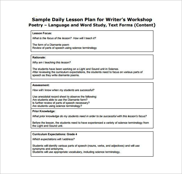 Writers Workshop Lesson Plan Template Lesson Plan format for Cbse Teachers Google Search
