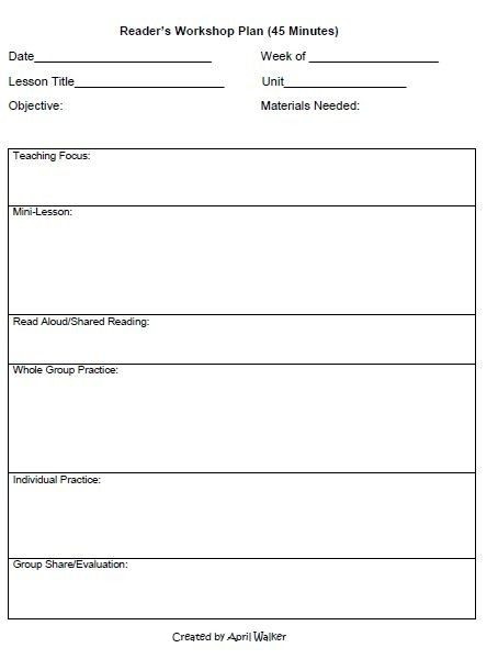 Writers Workshop Lesson Plan Template Lucy Calkins Reading Workshop Lesson Plan Template Lucy Calk